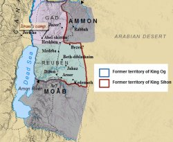 A map of the kingdoms of Moab and Ammon east of the Jordan River