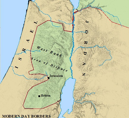 Map of modern day boundaries of Israel and Jordan.
