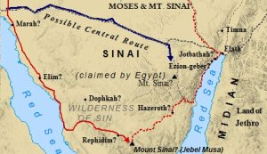 A map of Israel's wanderings in the Sinai, where the twelve tribes of Israel fled to out of Egypt.