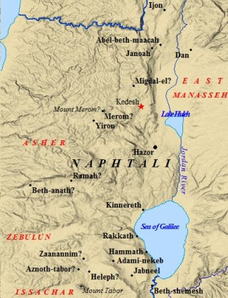 A map of cities & neighbors of the tribe of Naphtali.