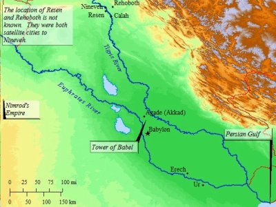 A map of ancient Mesopotamia in the days of Nimrod.