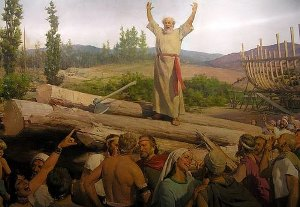 A painting of Noah preaching to the masses. The days of Noah were wicked days on earth.