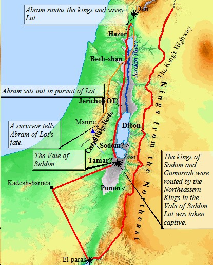An Old Testament map of the invasion of King Chederlaomer in Genesis in which Lot was taken captive.