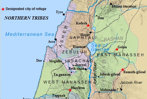 A map of the Northern Tribes of  Israel.