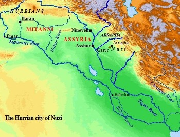 A map of ancient Hurrian Nuzi.