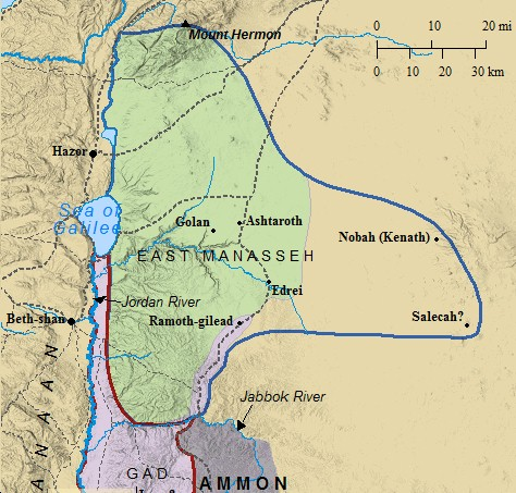 A map of the Transjordan - the land east of the Jordan River & occupied  by three of Israel's tribes.