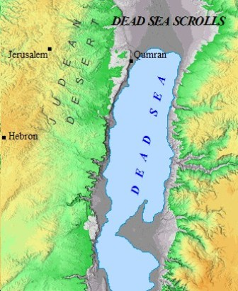 A map of the location of the Dead Sea Scrolls. Fragments from the book of Enoch were discovered in the caves.