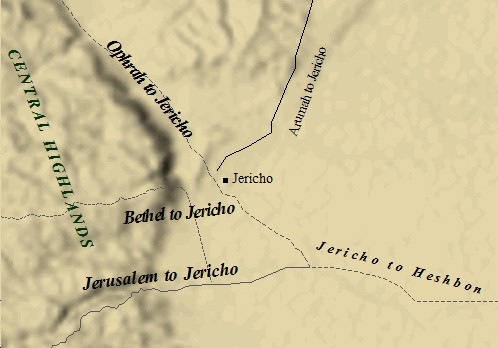 A map of the roads in and out of ancient Jericho.