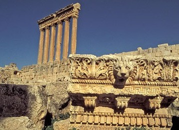 The great Roman temple built upon the ancient ruins of Baalbek.