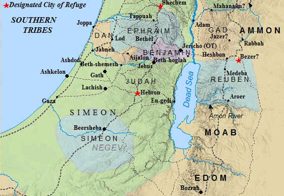 A map of the Southern Tribal Allotments of ancient Israel.