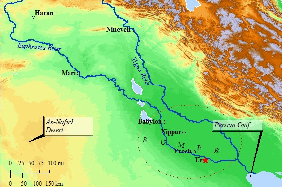 A Map of Ur and Ancient Sumeria in Southern Mesopotamia