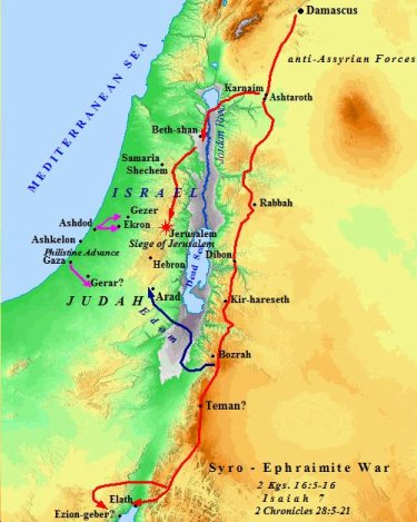A map of the Syro-Ephraimite War with Judah.