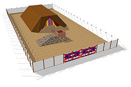 A computerized depiction of the Tabernacle compound in the wilderness.