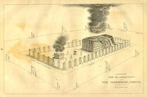 A drawing of the Tabernacle of Moses and the Shekinah Glory of God, in the form of a cloud.