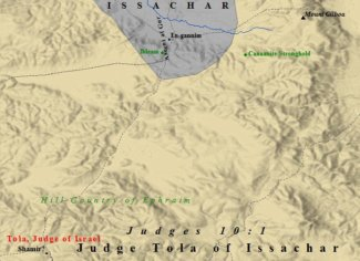 A map of Judge Tola of Issachar in Judges 10.