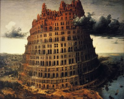 Construction on the ancient and magnificent Tower of Babel.