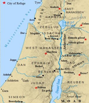 Map of the 12 tribes of Israel land allotment. Each tribe was given defined boundaries to build cities within the land of Canaan.