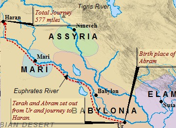 A map of Abraham's journey to Haran from Ur. After a stop in Haran, Abram finished the journey to Canaan at God's prompting.