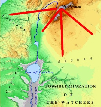 A map of the possible  migration of the Nephilim from the peak of Mt. Herman.