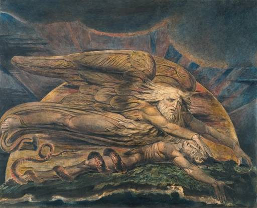William Blake's painting of God creating Adam by giving him breath.