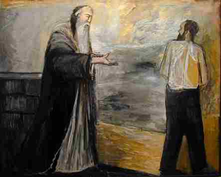 Painting of Abraham and Issac after the Binding of Isaac