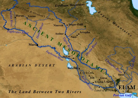 A map of ancient Mesopotamia.