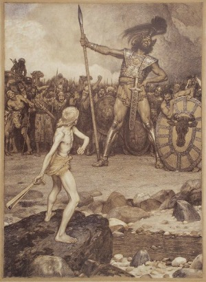 Osmar Schindler depicts David battling the Philistine giant Goliath.