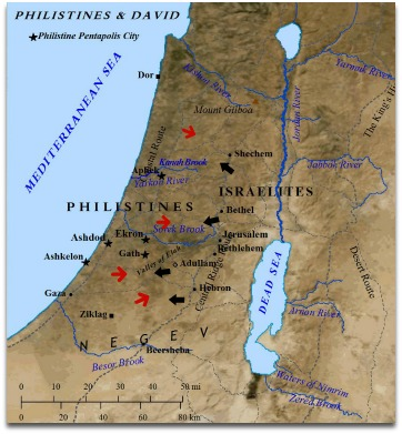 King David of Israel fought frequently with the Philistines