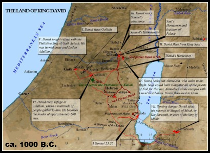 King David was from the south of Israel in Bethlehem. He lived in caves, the wilderness and finally the palace as he became King of a United Israel.