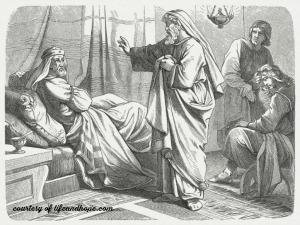 Isaiah confronts King Hezekiah about the Assyrian King Sennacherib.