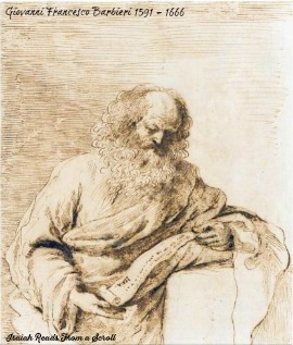 Barbieri depicts Isaiah reading from a scroll.