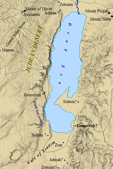 A map of the possible locations of Sodom and Gomorrah around the Dead Sea.
