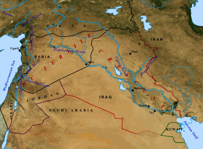 A map of ancient Mesopotamia and the Fertile Crescent.