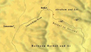 Abraham camped between Bethel and Ai.