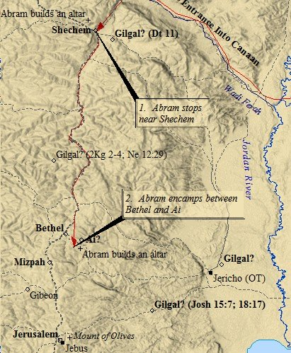 Shechem lie to the north of Jerusalem. This map of ancient Jerusalem depicts nearby towns & villages.