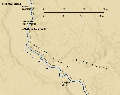 Map of Amarna, site of the Tel Amarna Letters