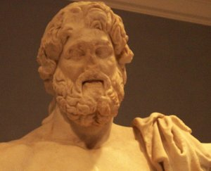 An ancient statue of Zeus.