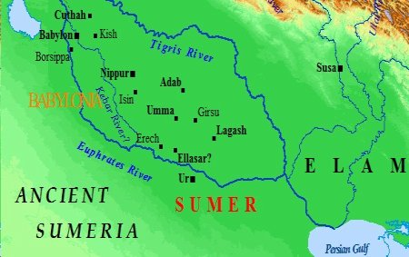 A map of ancient Sumeria and the empires of southern Mesopotamia.