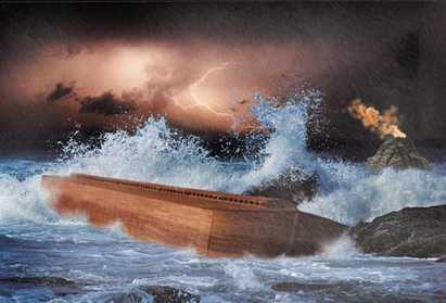 Noah's Ark is tossed about the earth's surface.