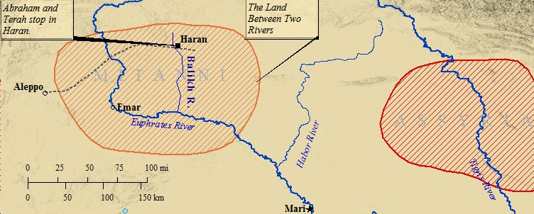 Terah's city, Haran, was between the Balikh and Tabor Rivers in northern Mesopotamia.