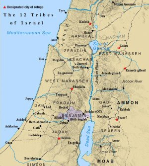 The Tribe of Benjamin is highlighted within the land of Canaan.
