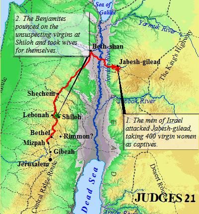 A Map of the Benjamites in Judges 21