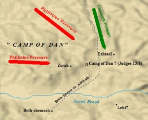 A map of the camp of Dan from the book of Judges.