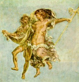 A painting of Greek gods dancing in celebrations.