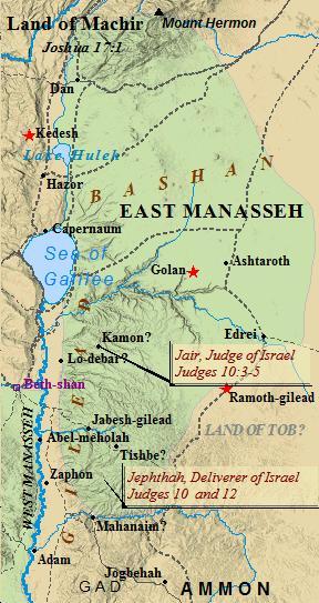 East Manasseh occupied Bashan, the former kingdom of Og.