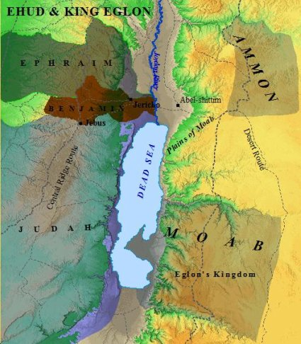 The setting of Ehud's deliverance of Israle from the Moabite King Eglon.