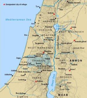 The tribe of Ephraim land alltoment highlighted.