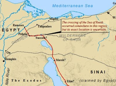 A map of the Exodus out of Egypt & the possible route taken by Moses.