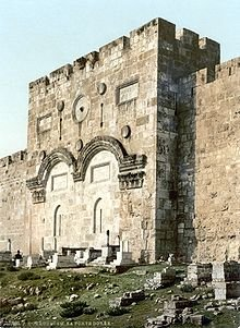 The now closed shut Golden Gate. It is said Jesus will return through this gate, which is why Muslim conquerors sealed the gate.