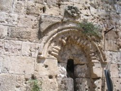 The architecture at the top of the Zion Gate shows meticulous attention to detail.